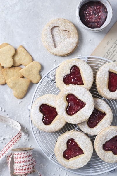 coconut cookies with jam sweetened with