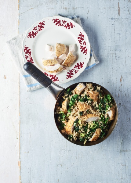 roasted chicken and kale stir fry