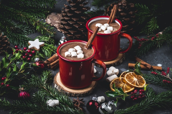 hot chocolate with marshmallows in red
