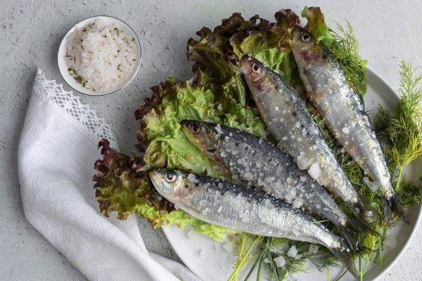 prepared savory mackerel served on salad