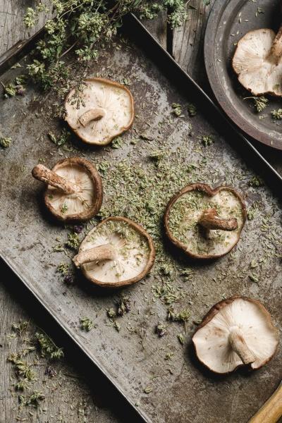 pile of fresh brown mushrooms on