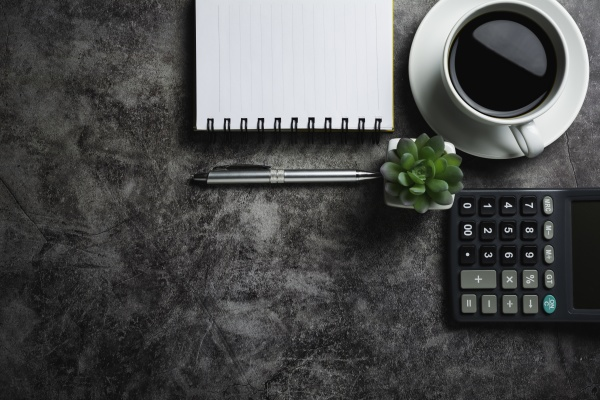 concrete table with coffee with office