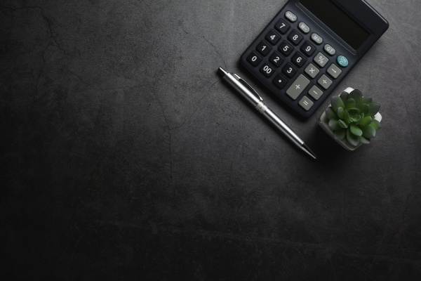 top view of black calculator with