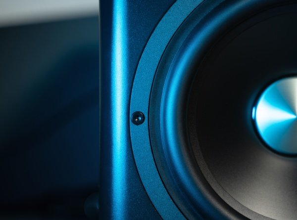 modern sub woofer with blue highlights