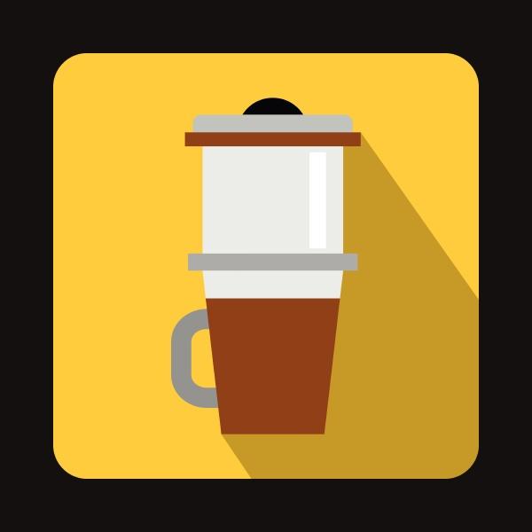 mug for coffee icon flat style