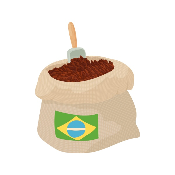 brazilian coffee icon cartoon style