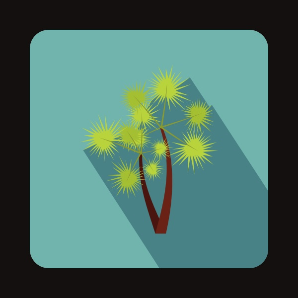 two palm trees icon in flat