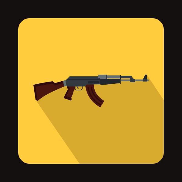 automatic machine gun icon flat