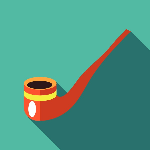 wooden pipe icon in flat style