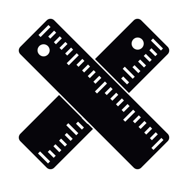 two crossed rulers icon simple style
