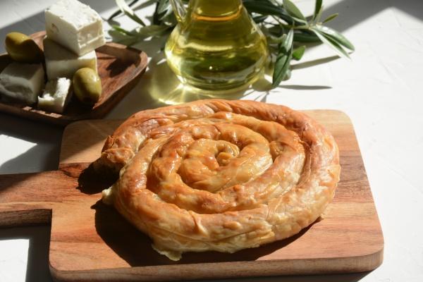 greek spanakopita or spiral pie made