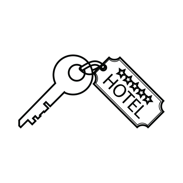 room key at hotel icon outline