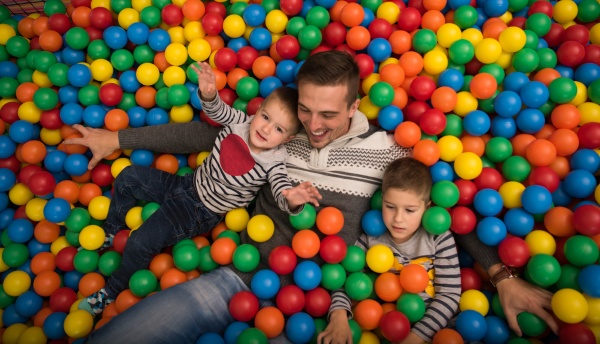 young dad with kids in a