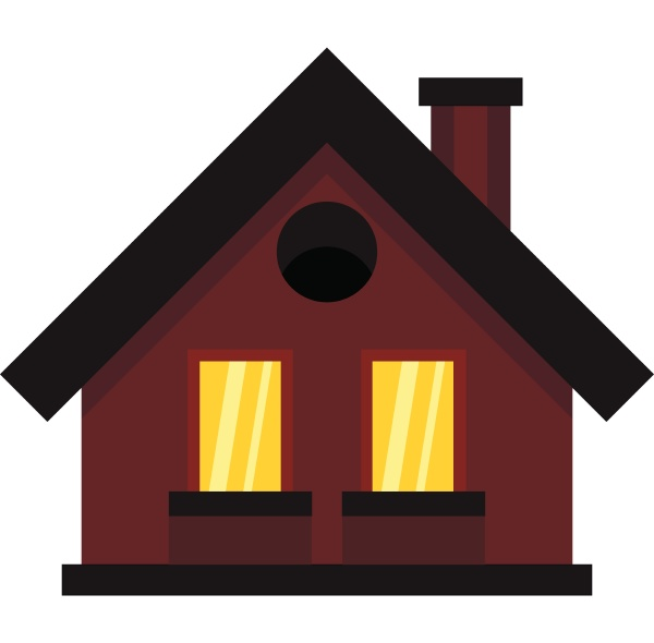 small cottage icon in flat style