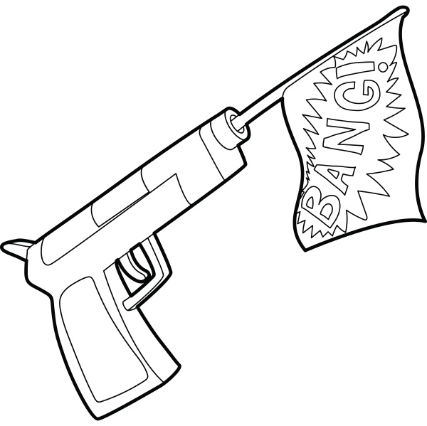 gun with flag toy icon outline