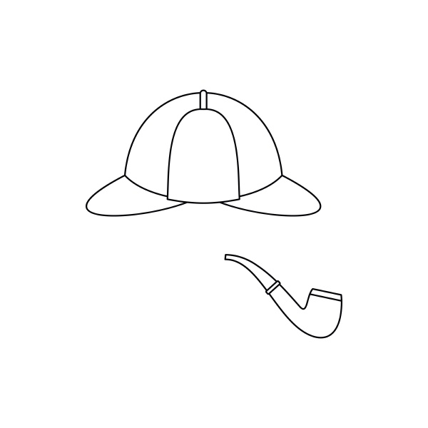 hat and pipe icon outline style