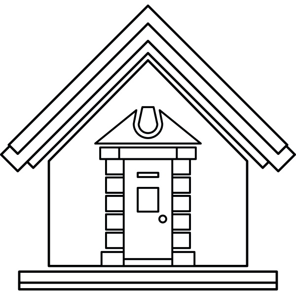 little house icon outline style