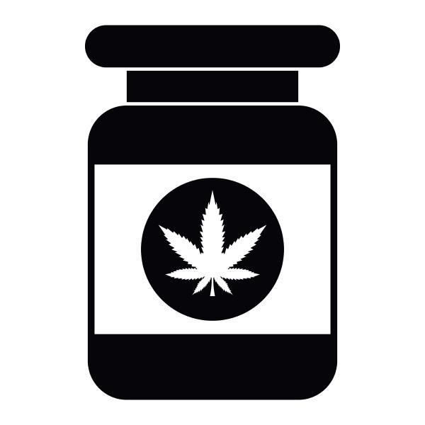 jar of powder marijuana icon simple