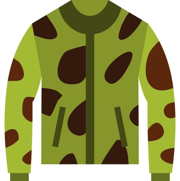 camouflage jacket icon flat style