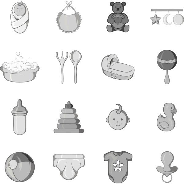 baby care icons set black