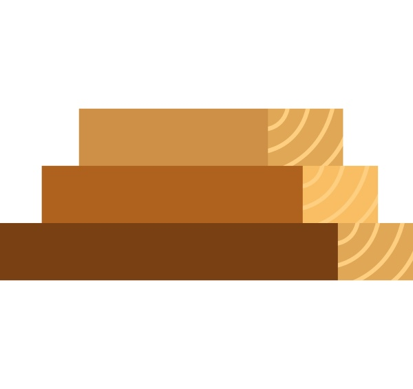 wooden boards icon flat style