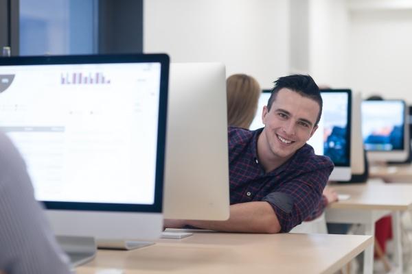 startup business software developer working on