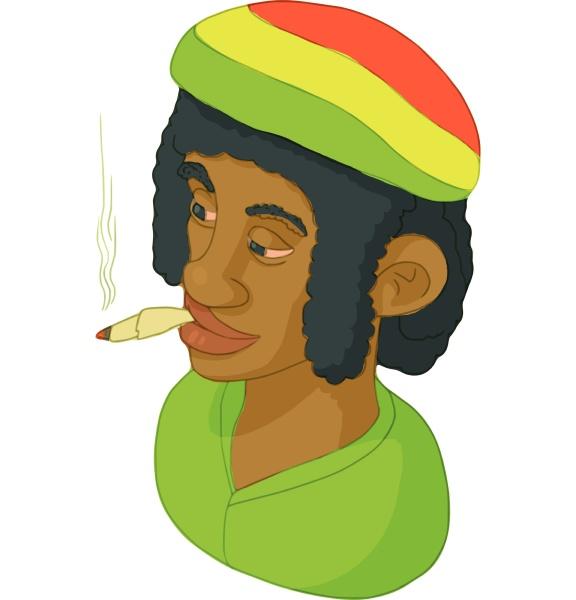 rastaman icon cartoon style