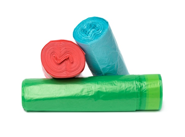 stack of polyethylene multicolored disposable trash