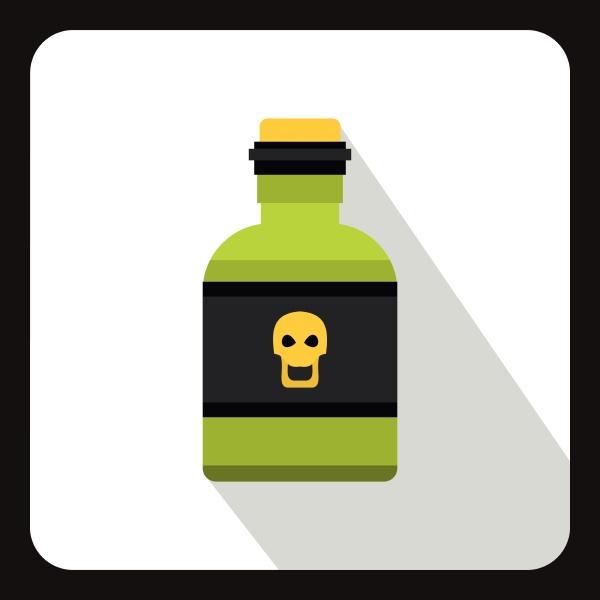 poison bottle icon flat style
