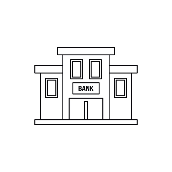 bank building icon outline style