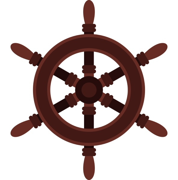 wooden ship wheel icon flat