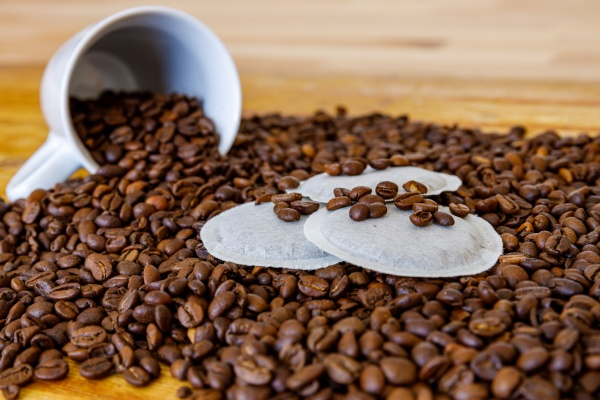 coffee beans and coffee pads