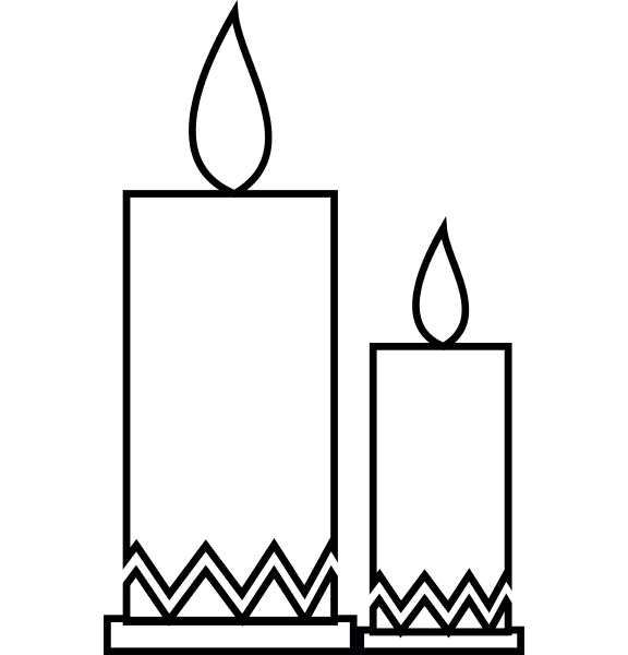 two candle icon outline style