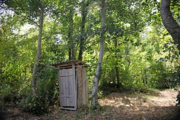wooden retro outdoor toilet