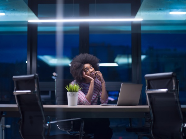 black businesswoman using a laptop in