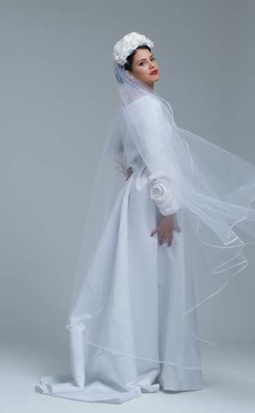 young bride in a wedding dress
