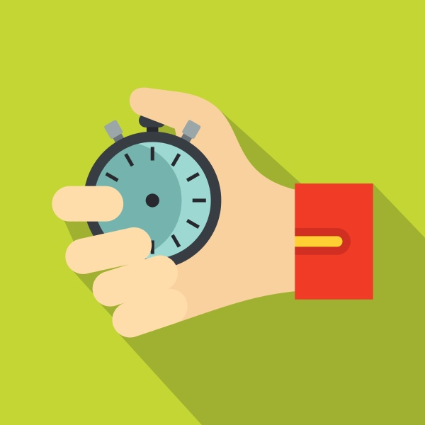 hand holding stopwatch icon flat style
