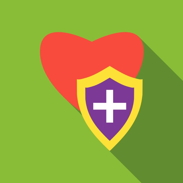 protection heart icon flat style