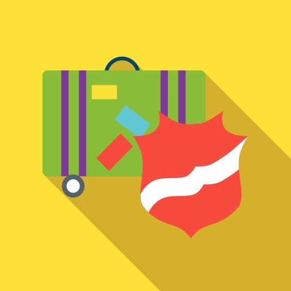 protection luggage icon flat style