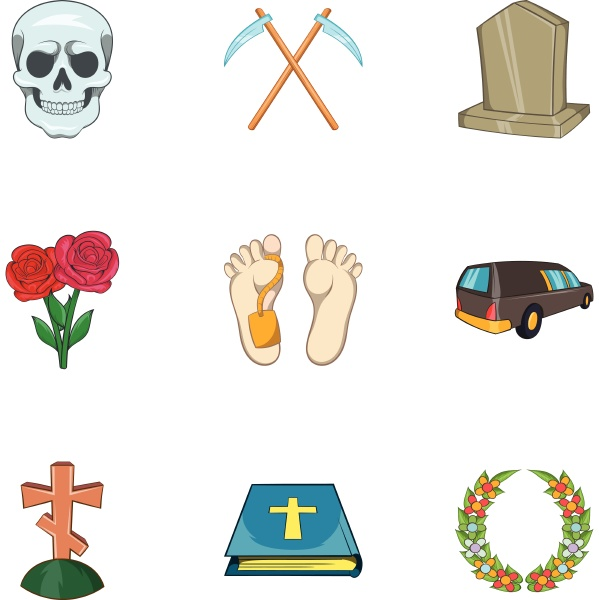 funeral services icons set cartoon style