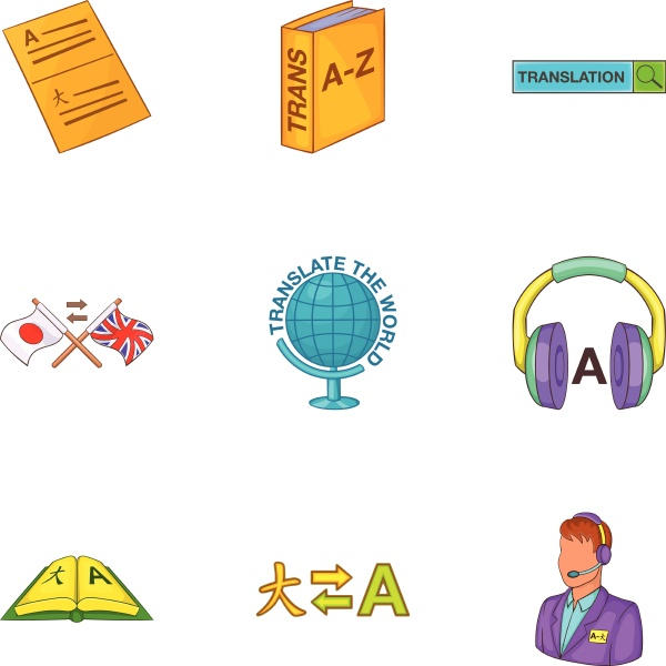translation of language icons set cartoon