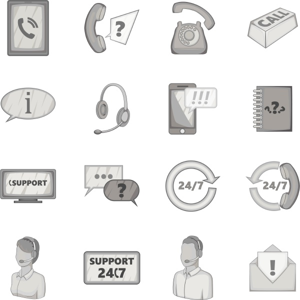 support service icons set gray monochrome