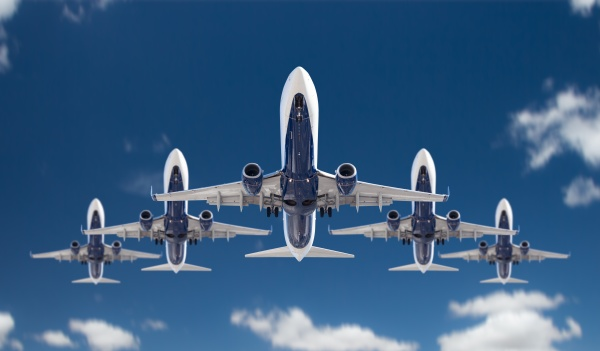bottom view of five passenger airplanes