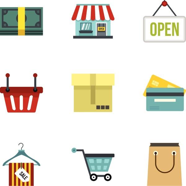 purchase icons set flat style