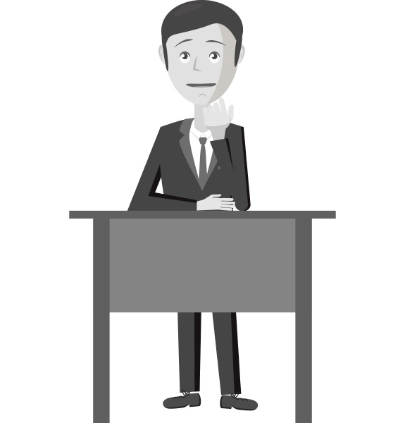 businessman at table icon gray monochrome