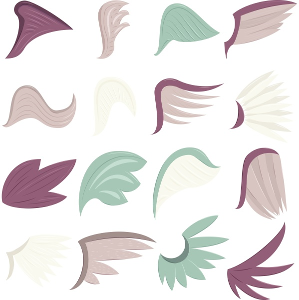 wings icons set cartoon style