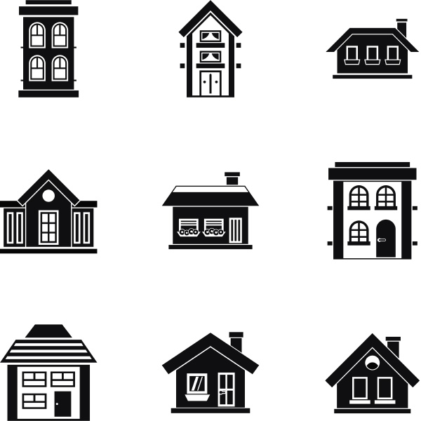 residence icons set simple style