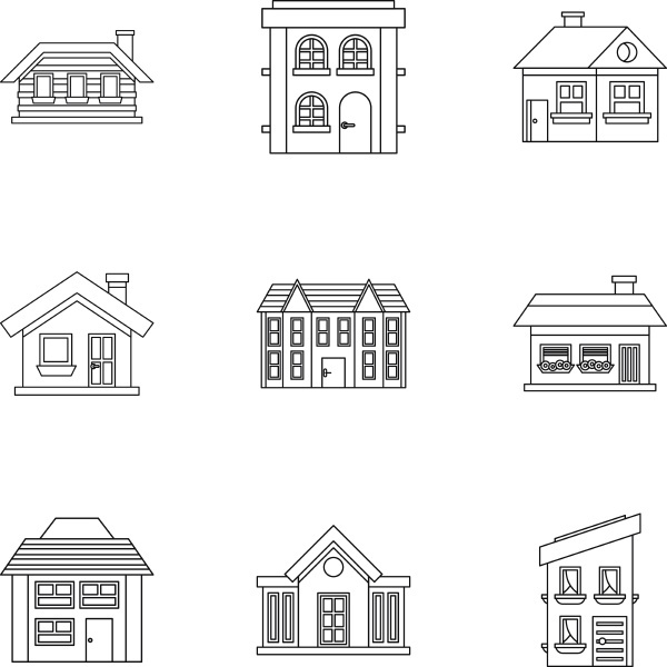 residence icons set outline style