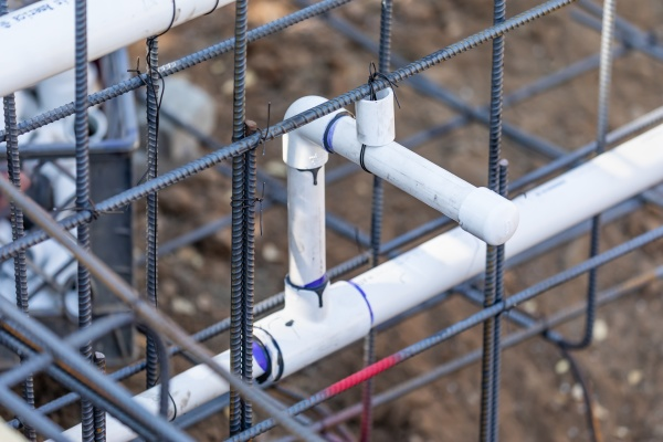 newly installed pvc plumbing pipes and