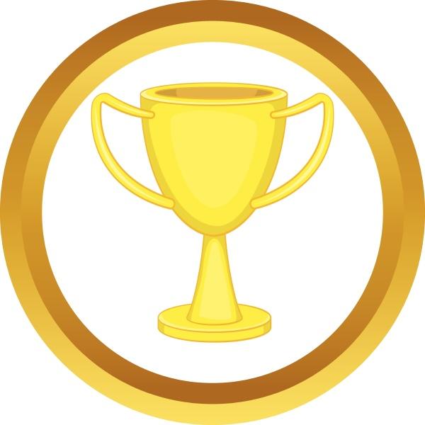 golden trophy cup vector icon